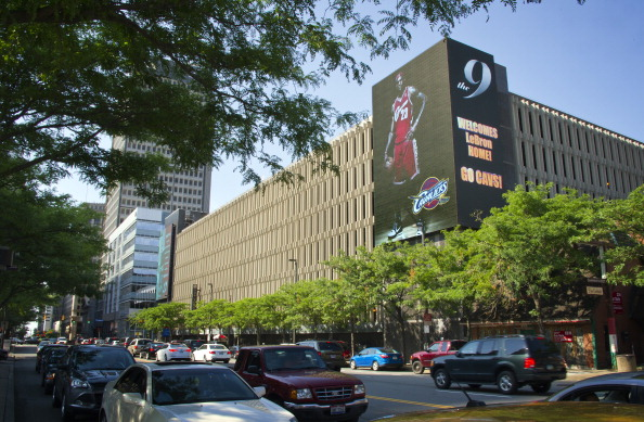 Billboards light up signaling the return of LeBron James to the Cleveland Cavaliers on July 11, 2014 in Cleveland, Ohio (Photo by David Liam Kyle/NBAE via Getty Images)