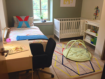 (Retailer Ikea donated the furnishings for each room designed to house a mother and child.   Photo by Dustin Wingate)