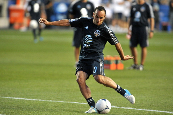 Landon Donovan #10 of MLS All-Stars takes a shot during warmups before the 2012 AT&T MLS All-Star Game against Chelsea at PPL Park on July 25, 2012 in Chester, Pennsylvania.  (credit: Drew Hallowell/Getty Images)