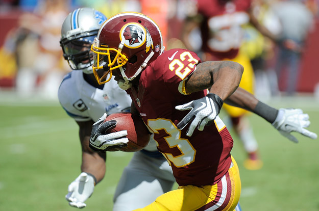 LANDOVER, MD - SEPTEMBER 22:  DeAngelo Hall #23 of f the Washington Redskins returns an interception for a touchdown in the first quarter against the Detroit Lions at FedExField on September 22, 2013 in Landover, Maryland.