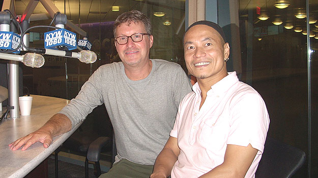 (Dancer-choreographer Kun-Yang Lin, right, with Kenneth Metzner, executive director of the company.  Photo by Ed Fischer)