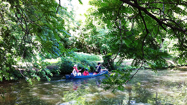 (Canoeing along the Schuylkill Canal.  Photo by Jay Lloyd)