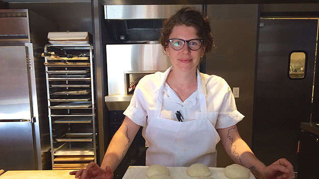 (Emily Seaman, co-chef at Dizengoff, 1625 Sansom Street.  Photo provided)