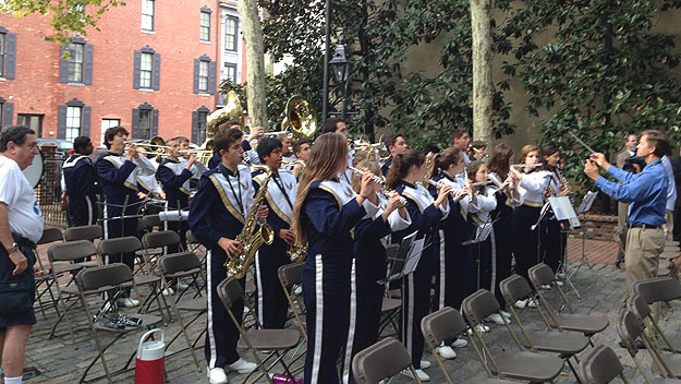 (The Council Rock South High School band performs in the courtyard of the Betsy Ross House during 9/11 memorial ceremonies.  Photo by John McDevitt)