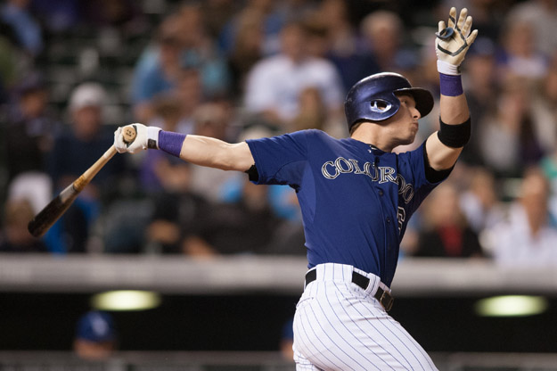 DENVER, CO - SEPTEMBER 15:  Corey Dickerson #6 of the Colorado Rockies hits a fifth-inning RBI single against the Los Angeles Dodgers during a game at Coors Field on September 15, 2014 in Denver, Colorado.