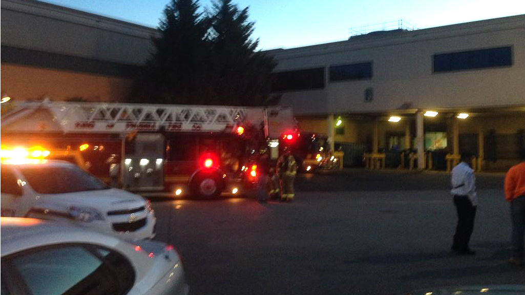A fire truck outside the King of Prussia mall food court. (Credit: Jim Melwert/KYW)