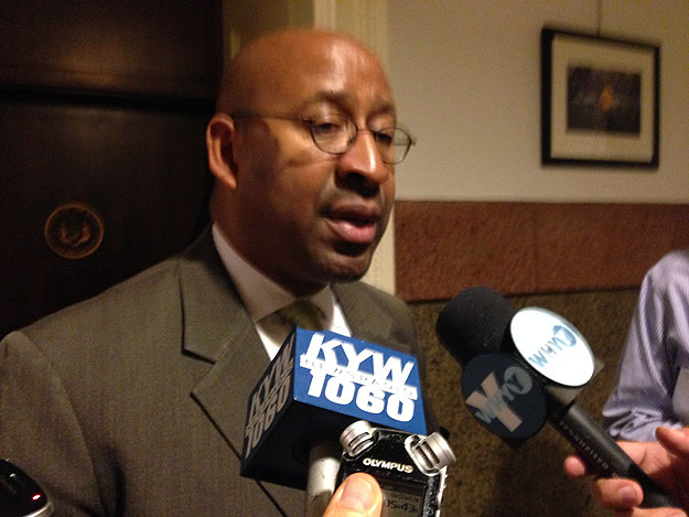 (Mayor Nutter speaks with reporters outside his City Hall office.  Photo by Mike Dunn)
