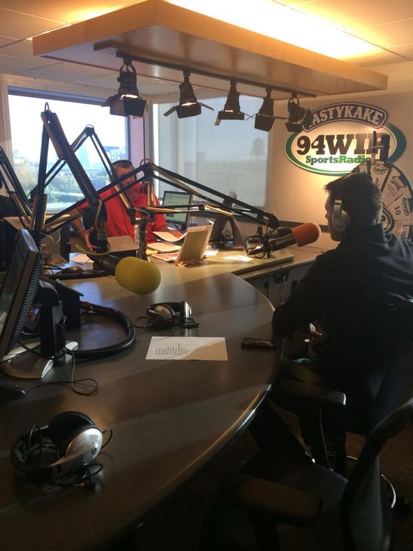 Angelo Cataldi talks to Brian Boucher on the 94WIP Morning Show (Photo credit: Andrew Porter/WIP)