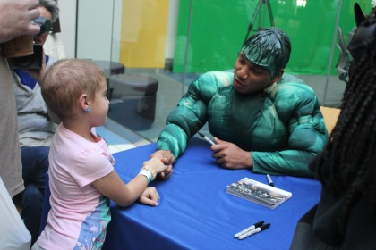 Eagles RB Chris Polk took time Monday to take part in the team's annual Halloween party at CHOP. Polk is dressed as the Incredible Hulk. (Photo credit: Philadelphia Eagles)