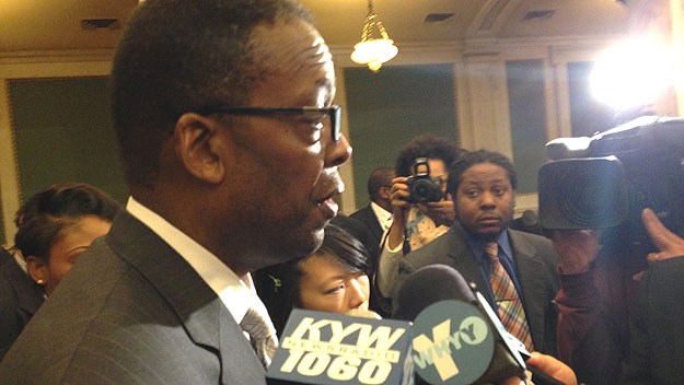 (City Council president Darrell Clarke speaks with City Hall reporters.  Photo by Mike Dunn)