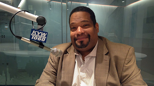 (Bishop Dwayne Royster, at the KYW Newsradio studios.  Photo by Cherri Gregg)