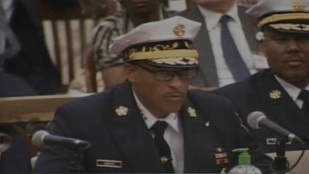 (Philadelphia fire commissioner Derrick Sawyer testifies before City Council.  Image from City of Phila. TV)