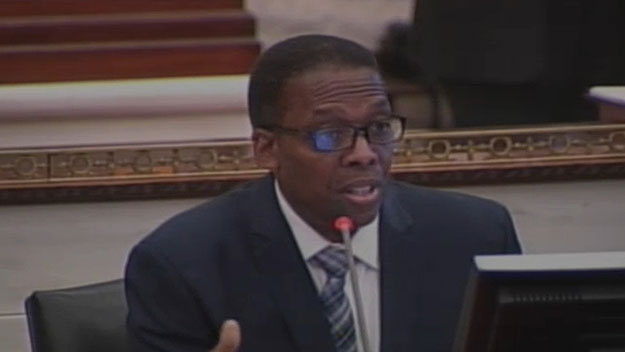 (City Council president Darrell Clarke, at the PGW hearing.  Image from City of Phila. TV)