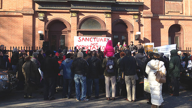 (A rally in support of Angela Navarro at a West Kensington church.  Photo by John McDevitt)