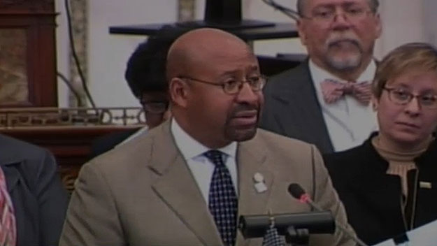 (Mayor Michael Nutter, at City Council press conference.  Image from City of Phila. TV)