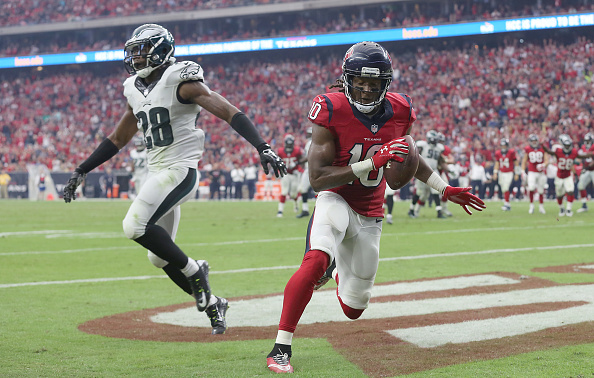 HOUSTON, TX- NOVEMBER 02: DeAndre Hopkins #10 of the Houston Texans scores a touchdown while Earl Wolff #28 of the Philadelphia Eagles covers in the second half in a NFL game on November 2, 2014 at NRG Stadium in Houston, Texas. Eagles won 31 to 21. (Photo by Thomas B. Shea/Getty Images)