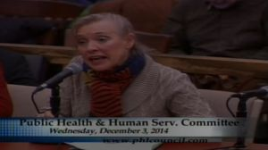 Photo of Bonnie Grant of the Philadelphia Convention and Visitors Bureau, testifying before City Council's Public Health Committee (credit: City of Philadelphia TV)