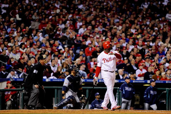 PHILADELPHIA - OCTOBER 26:  Ryan Howard #6 of the Philadelphia Phillies hits a three-run home run  against Andy Sonnanstine #21 of the Tampa Bay Rays during game four of the 2008 MLB World Series on October 26, 2008 at Citizens Bank Park in Philadelphia, Pennsylvania.  (Photo by Jeff Zelevansky/Getty Images)