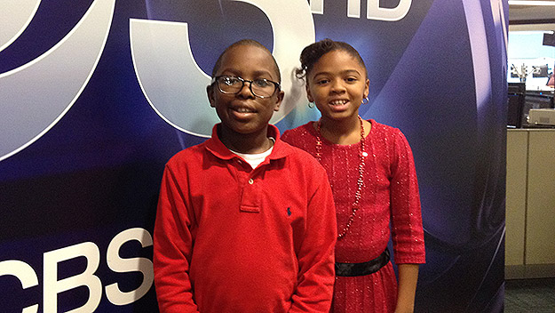 (James and his sister, Makayla, at the KYW Newsradio studios.  Photo by Tim McLaughlin)