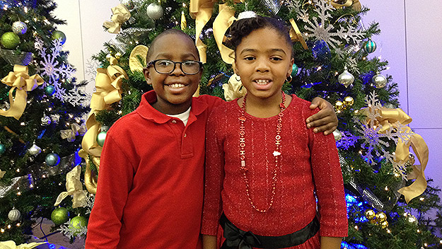 (James and his sister, Makayla, at the KYW Newsradio studios just before Christmas.  Photo by Tim McLaughlin)
