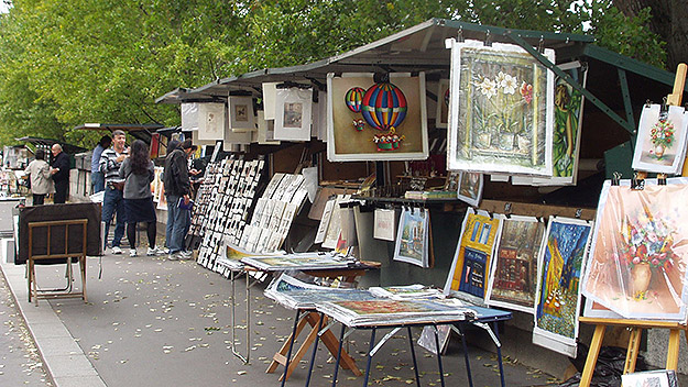 (Book stalls along the Left Bank of Paris.  File photo by Jay Lloyd)