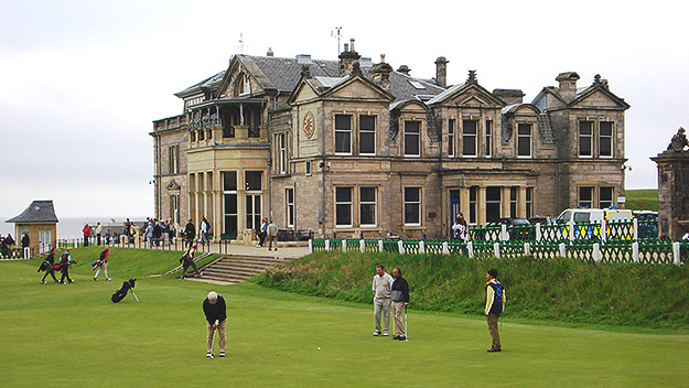 (The 18th green of the Old Course at St. Andrew's, in Scotland.  Photo by Jay Lloyd)