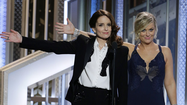 Tina Fey and Amy Poehler at The 72nd Golden Globe Awards (Photo by Paul Drinkwater/NBCUniversal via Getty Images)