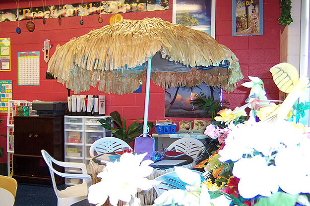 (One corner of Susan Love's classroom at Patterson Elementary, showing the tropical theme.  Photo provided by Susan Love)