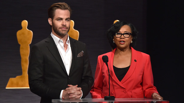 Chris Pine and Academy President Cheryl Boone Isaacs (Photo by Kevin Winter/Getty Images)