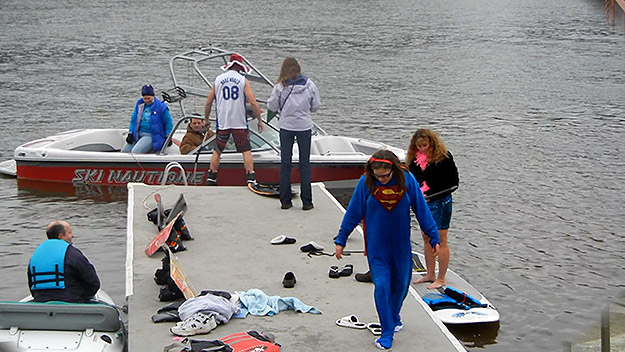 (Some Port Indian water skiiers at their annual New Year's Day outing, in 2013.  File photo provided by Port Indian Ski Club)