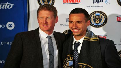 Dzenan Catic with Union coach Jim Curtin (Credit: Earl Gardner, Philly Soccer Page)
