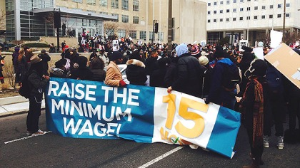 (Marchers rally in front of School District of Philadelphia headquarters, on North Broad Street.  Photo by Steve Tawa)