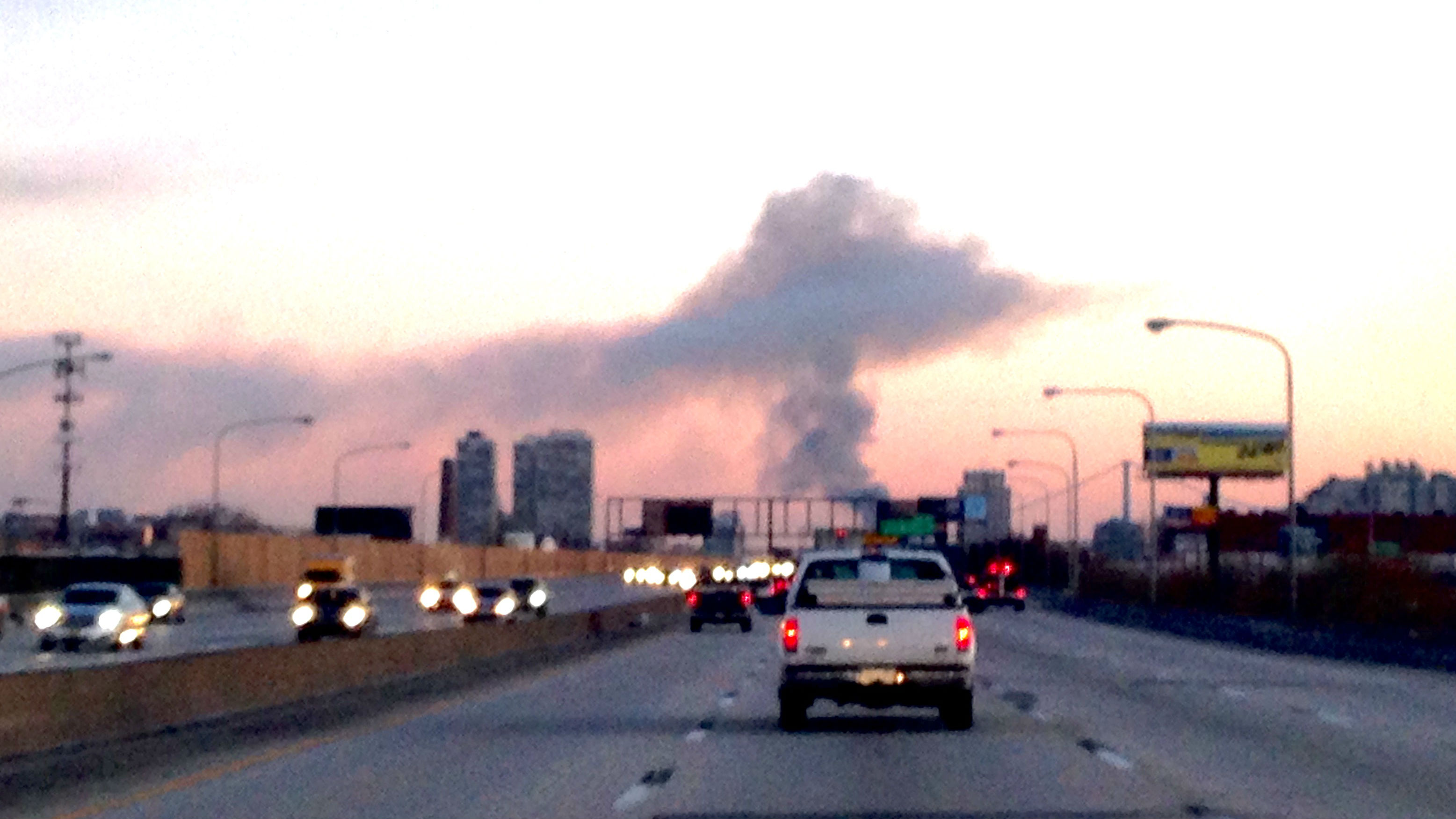 The West Kensington fire, seen from I-95. (Credit: Mike Teiper/CBS3)