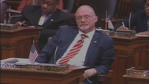 (Councilman Bill Greenlee, after his paid-sick-leave measure passes City Council, this time with Mayor Nutter's backing.  Image from City of Phila. TV)