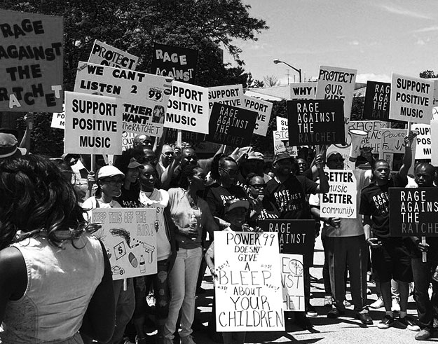 """(A """"Rage Against The Ratchet"""" protest outside a Philadelphia music radio station last summer. Photo provided)"""