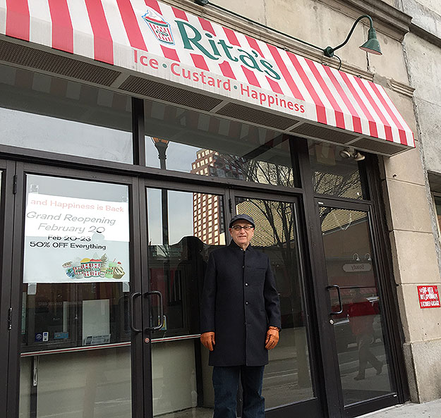 (Ron Kauffman, outside his Rita's water ice store at 1511 Spruce Street, in center city.  Photo provided)