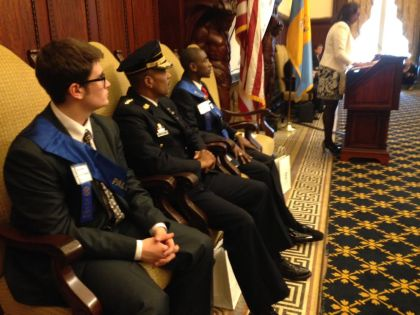 Philadelphia leaders are paired with area students for the day. (Credit: Mike Dunn)