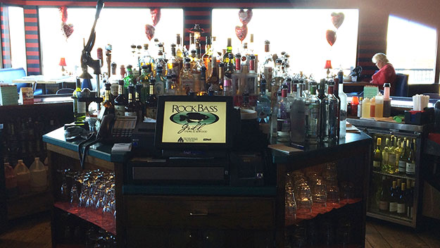 (The bar area at Rock Bass Grill, festooned for Valentine's Day.  Photo by Jay Lloyd)