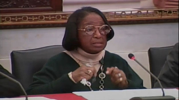 (Councilwoman Marian Tasco, who chaired the meeting of the Public Health and Human Services Committee.  Image from City of Phila. TV)