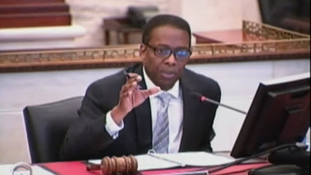 (City Council president Darrell Clarke, at the budget hearing.  Image from City of Phila. TV)