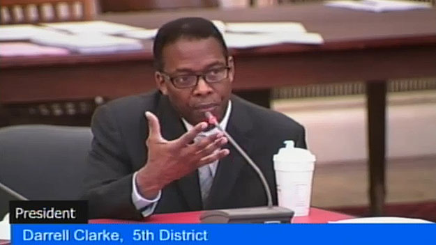 (City Council president Darrell Clarke.  IMage from City of Phila. TV)