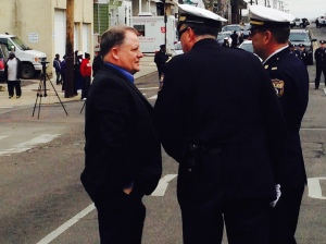 Eagles coach Chip Kelly speaks with members of the Philadelphia Police Department at the viewing for Officer Robert Wilson III. (credit: DavidSpunt/cbs3)
