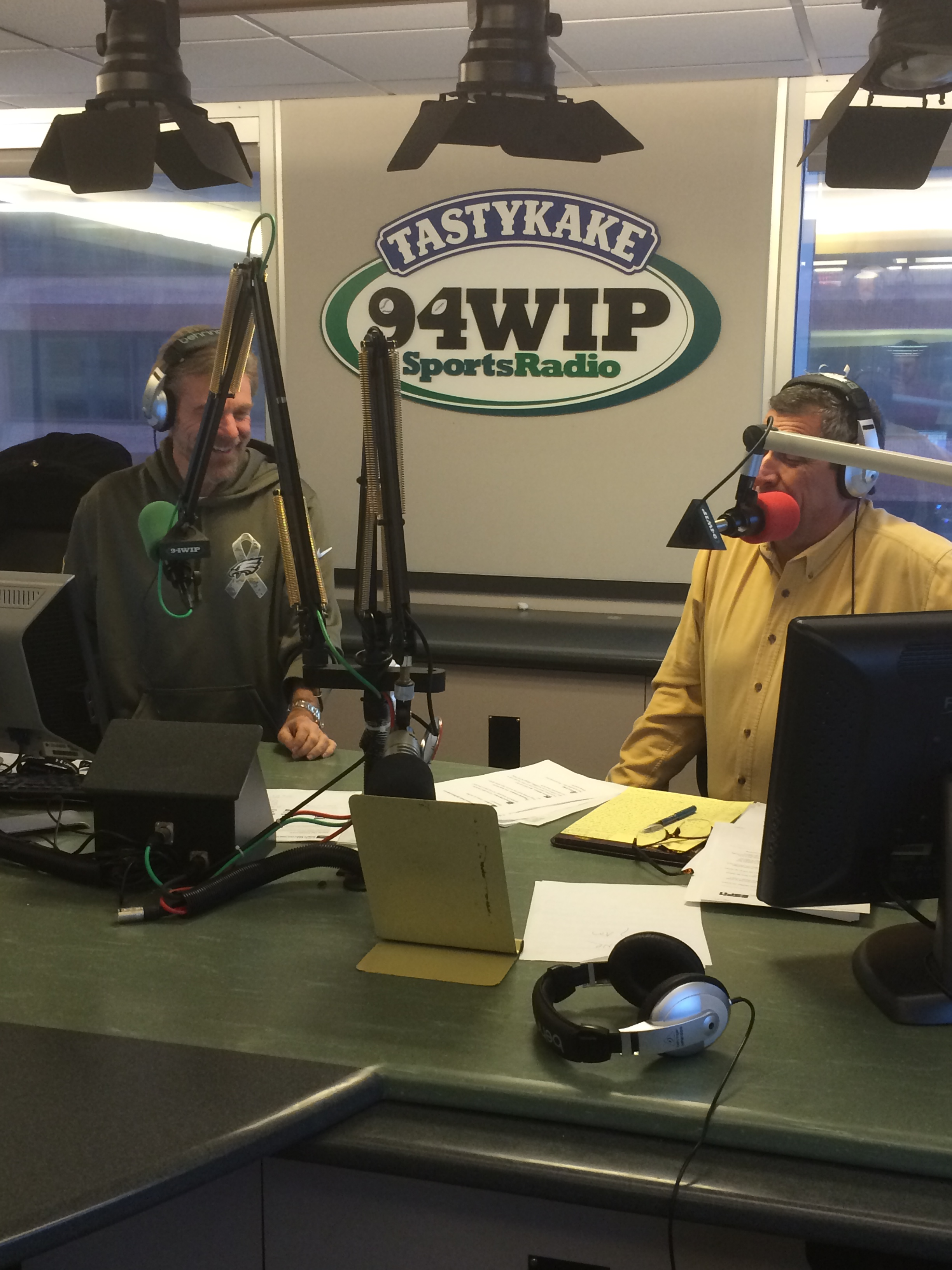 MARCH 4, 2015: Howard Eskin (left) and Angelo Cataldi (right) in the SportsRadio 94WIP studio together. (Photo credit: Andrew Porter/WIP)