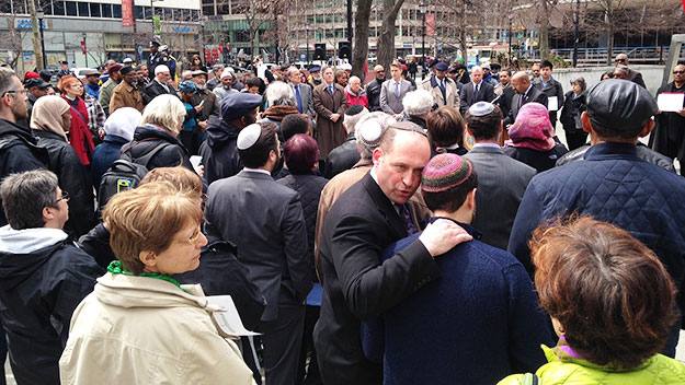 (Members of several faiths attended the rally.  Mayor Michael Nutter is at lectern in background right.  Photo by Cherri Gregg)