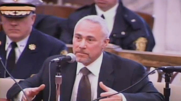 (Philadelphia public safety director Mike Resnick testifies.  Image from City of Phila. TV)