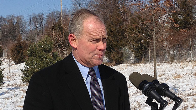 (Pa. House speaker Mike Turzai, at event this morning near Harrisburg.  Photo by Tony Romeo)
