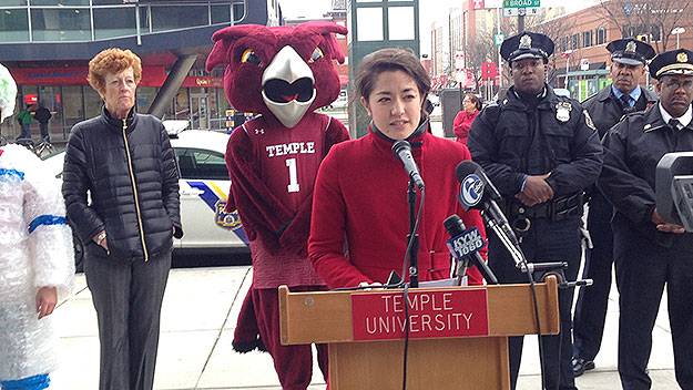 (At Broad and Cecil B. Moore, Temple University and city representatives promote the city's new safety campaign.  Photo by John McDevitt)
