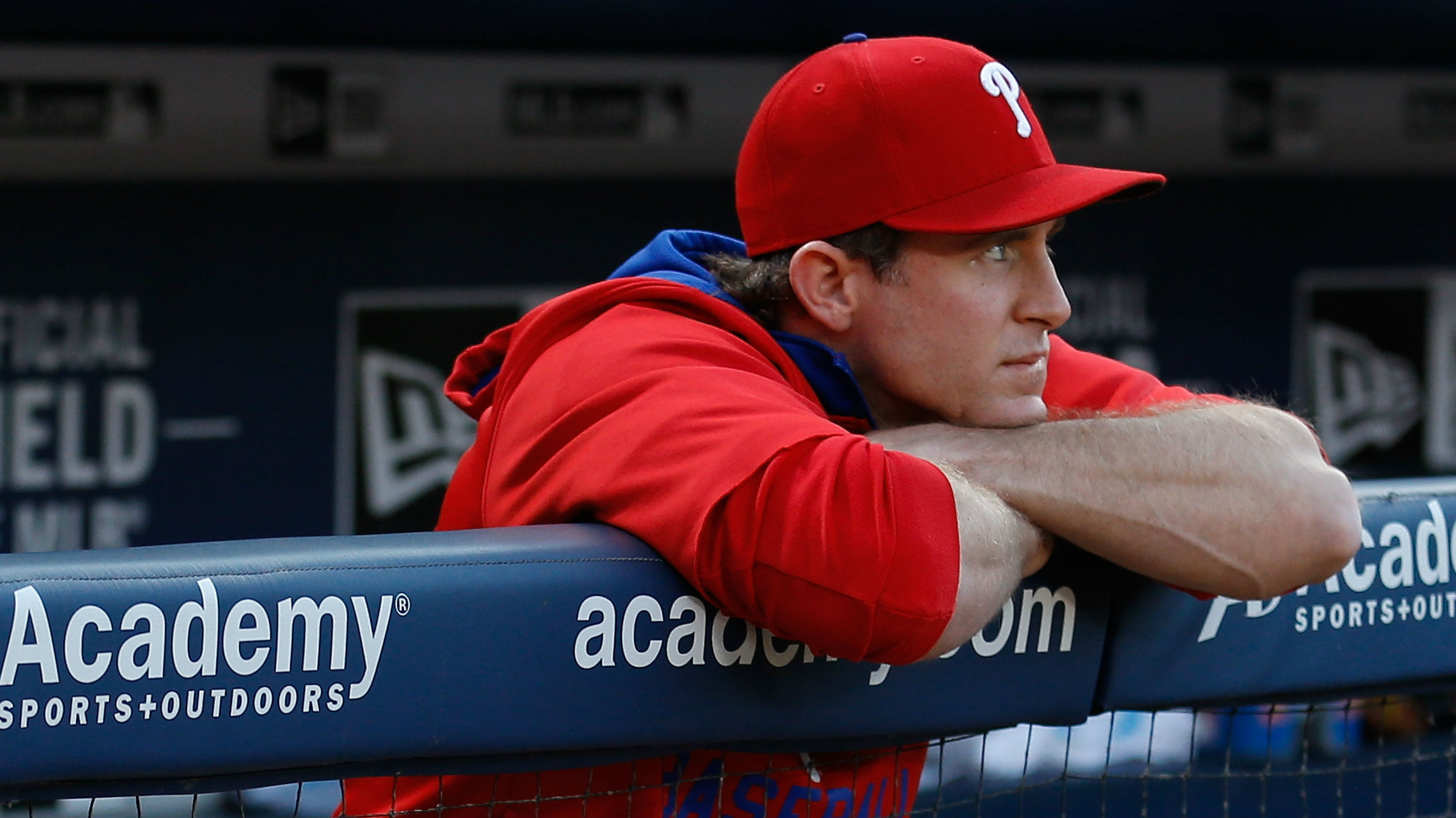 ATLANTA, GA - MAY 05: Second baseman Chase Utley #26 of the Philadelphia Phillies sits out of the game against the Atlanta Braves at Turner Field on May 5, 2015 in Atlanta, Georgia. (Photo by Mike Zarrilli/Getty Images)