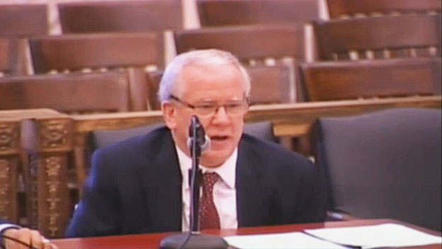 (PPA executive director Vincent Fennerty testifies in City Council.  Image from City of Phila. TV)