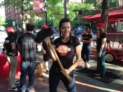 Philly Beer Week executive director Kristine Kennedy with the Hammer of Glory. (Credit: Paul Kurtz)